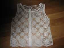 LADIES CUTE WHITE FLORAL SHEER COTTON SLEEVELESS TOP BY GIRLS EXPRESS SIZE 18