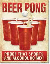 Beer Pong Proof That Sports Alcohol Mix Funny Humor Bar Pub Decor Metal Sign