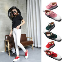 Spring Women's Casual White Sports Sneakers Breathable Platform Lace Up Shoes