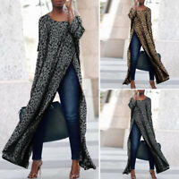 Women Long Sleeve Leopard Printed Long Tops Party Club Blouse High Split Shirt