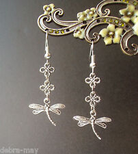 Pretty Dragonfly and Flowers Dangly Earrings