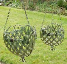 Set of 2 Ornate shabby chic Lattice Hanging flower Basket in Vintage Green