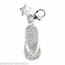 Sterling Silver Tingle Stone Set Flip Flop Charm with Gift Box and Bag