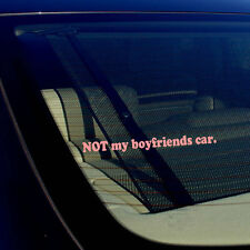 "Not My Boyfriends Car Racing Drifting Girl Pink Decal Sticker 7.5"" Inches"