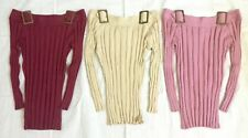 One Step Up Buckle Boatneck Rib Knit Sweater Top Womens Small~ 3 Colors Choices!