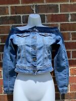american bazi blue jean jacket distressed denim off the shoulders size small