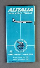ALITALIA AIRLINE TIMETABLE JULY 1960 CARAVELLE DOUGLAS DC-8 ROUTE MAP