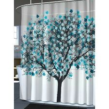 Modern Shower Curtain Blue Tree of Life Abstract Leaf Bathroom Decor 70x72 New