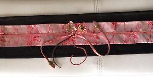 NWOT New Authentic Prada Pink Leather Flowers Obi Kimono Wide Belt 28 70 XS S