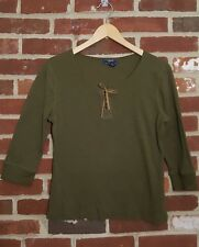Chaps Large womens shirt olive green cotton faux suede
