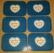 Set of 6 Vintage METAL TIN SERVING TRAYS - Blue Fleck - Welcome Friends Heart