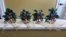 "CHRISTMAS HOLLY BERRY POINSETTIA  5"" NAPKIN HOLDER RINGS - SET OF 4"