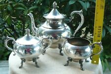 3 Piece Coffee Tea Set Silver on Copper
