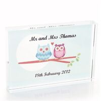 Owl Couple Crystal - Personalised Wedding or Anniversary Keepsake Gift