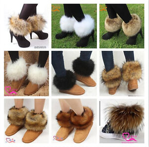 Fashion Women Warm Faux Rabbit/Raccoon Fur Lower Leg Warmer Boot Shoes Cover