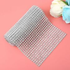 Diamond Mesh Roll Sparkle Crystal Ribbon Wedding Party Cake Vases Decor Silver