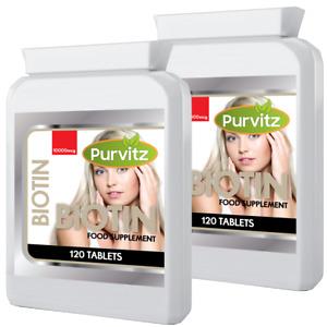 BIOTIN 10,000mcg 240 Tablets Max Strength Improve Hair Skin Nails Purvitz UK