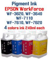 Pigment Ink 4 240ml bottles Epson WF-3620 WF-3640 WF-7110 WF-7610 WF-7620
