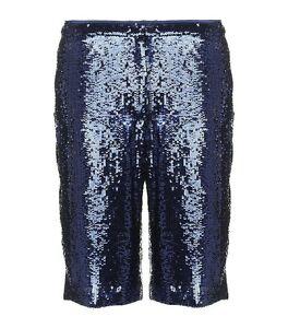 NWT $425 ADAM LIPPES Sequin Bermuda Shorts 100% Silk Blue Indigo Size 2