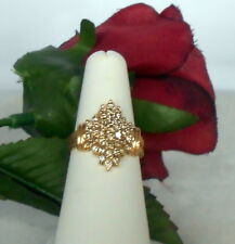 14K YG Light Champagne Diamond Cluster Cocktail Ring About 1 cttw Size 7