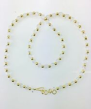 White & Gold/Silver Crystal Bead Necklace Plastic Chain Jewellery - Beaded Chain
