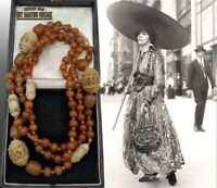 ANTIQUE ART DECO EGYPTIAN REVIVAL CARVED BONE CELLULOID AMBER FLAPPER NECKLACE