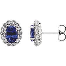 Künstlicher Blauer Saphir & 3/8 Karat Diamant Ohrringe 14k Weiss Gold