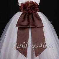 New Brown Chocolate Sash Wedding Flower Girl Dress Bow 12M 18M 24M 2 4 6 8 10 12