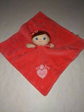 New listing Baby Starters Pink My First Doll Brown Hair Security Blanket Rattle Lovey