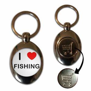 I Love Heart Fishing - £1/€1 Shopping Trolley Coin Key Ring New
