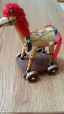 Vintage Handcrafted Child's Wooden Toy Horse on Wheels Pull Toy Used Good