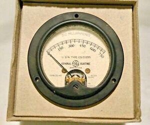 Vintage General Electric Radio Panel Meter 0-750 MA DC unused - original USN box