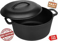 Cast Iron Dutch Oven Pre Seasoned 5 Quart Kitchen Cookware Cooking Pot with Lid