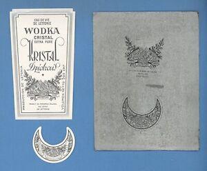 LATVIA LETTLAND TWO Typographic cliche WITH TWO vodka label 1935s RARE 1725