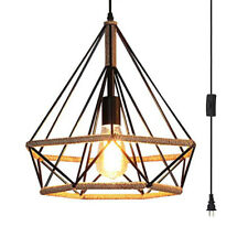 Industrial Plug in Cord Hanging Ceiling Light Antique Rope Metal Pendant Lamp