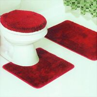 NEW 3PC BATHROOM SET 1 BATH RUG 1 CONTOUR MAT 1 TOILET LID COVER #6 RED
