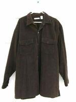 M Gordon Men's Brown Corduroy Long Sleeve Shirt Jacket 100% Cotton Size XL