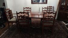 Solid Cherry Country Dining Room Set & Hutch (8 pcs). 3 leaves, seats 4-14!