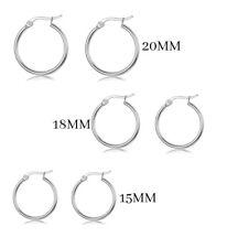 Elegant 925 Sterling Silver Hoop Earrings for Women Jewelry 3 Pack Set 20-18-15M