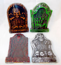 Halloween Styrofoam Tombstones RIP Skeleton Hand Spider Skulls Crossbones Lot 4