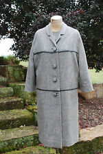 VINTAGE 2 pc Gray wool dress Matching coat Leather trim MR. JULES Tweed Finery