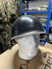 More details for vintage french army police rf riot gendarmerie steel helmet black military uk