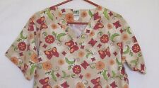 Nurse Scrub Butterflies Medium UA Scrubs V-Neck Pullover Tan/Brown Flowers