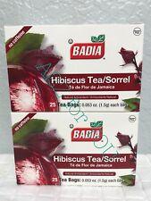 Badia Hibiscus Tea Sorrel  Natural Antioxidant Flor de Jamaica 2Pack 50 Bags.