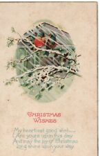 VINTAGE CHRISTMAS GREETING postcard:  BIRDS IN A SNOWSTORM