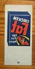 1974 Topps Wacky Packages Tattoos Chicken Fat #7B