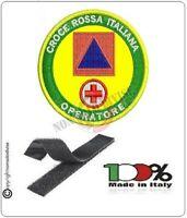 Patch Toppa Ricamata con Velcro CROCE ROSSA ITALIANA OPERATORE OPEM + Protezione