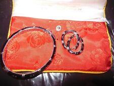 Authentic Lauren G Adams Designer Bracelet &  Earrings Huggies Black