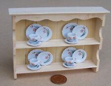 1:12 Natural Finish Shelf Unit & 16 Piece Tea Set Dolls House Miniature TS7