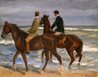 "Max Liebermann, Two Horse rider on the Beach, antique decor, 20""x16"" Art Print"